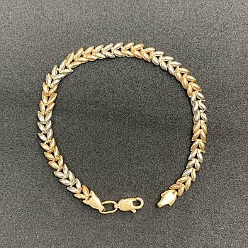 Золотой браслет БУ 585 пробы, фантазийное плетение, вес 3,42