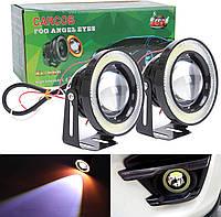 Противотуманные фары LED с ангельскими глазками 76mm 10W 3200lm (2шт), фото 1