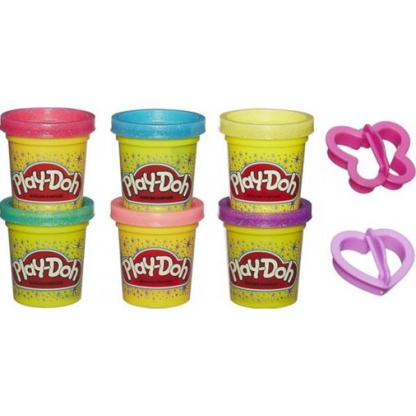 Play-Doh Набор пластилина из 6 баночек с блёстками, A5417
