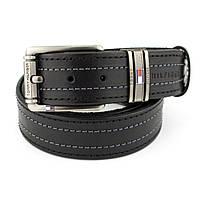 Ремень мужской кожаный SF-407 black (реплика Tommy Hilfiger) (135 см)