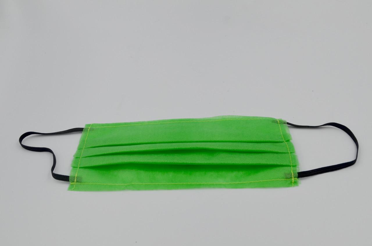 Защитная маска для лица  одноразовая 3-х слойная из  материала спанбонд цвет - зелёный