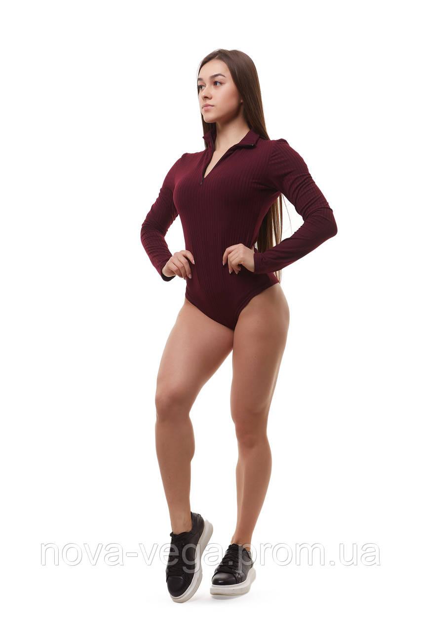 Женское трикотажное боди бордового цвета Lounge Bordo