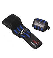 Бинты на запястьякистевые спортивные 2 штPOWERPLAYС эластичной петлей Черный-синий (PP_3082_Blue)