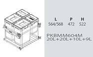 Сортер для мусора с доводчиком (модуль 600 мм)(4 ведра)(2*20л+10л+9л) - VIBO (Италия), фото 2