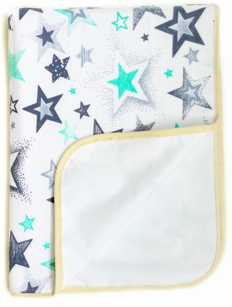 Непромокаемая пеленка многоразовая Звездочки серо-бирюзовые - #12