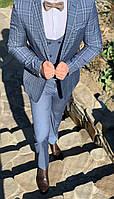 Мужской классический костюм-тройка в клетку пиджак