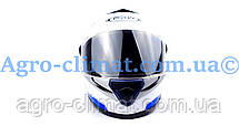 Мотошлем FXW HF-112 белый с синей полосой, фото 2