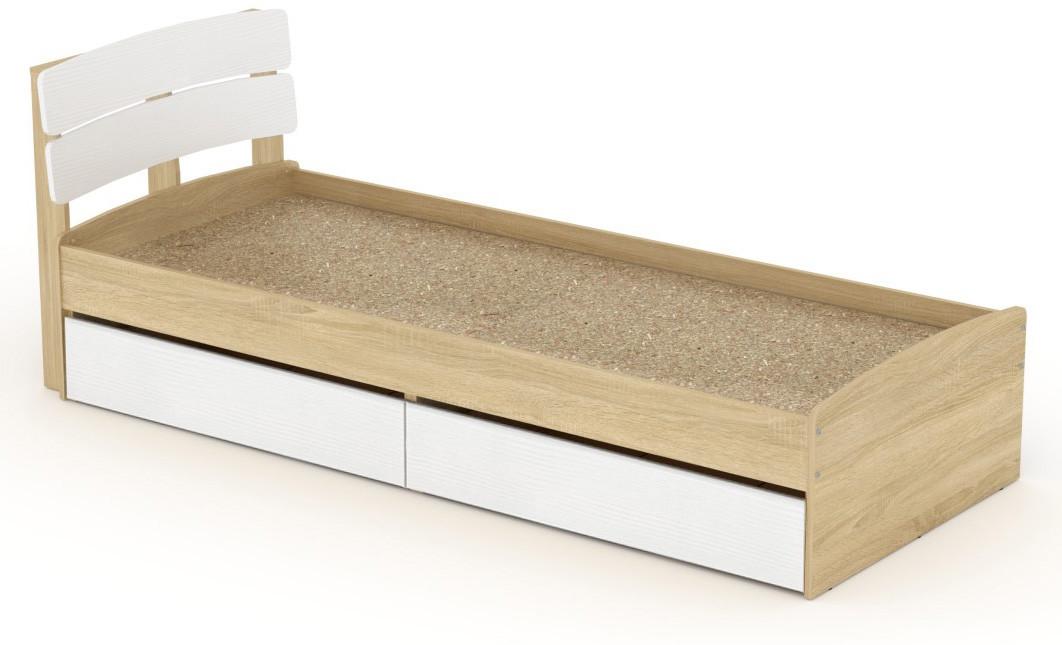 Кровать с 2 ящиками Модерн-80 КОМПАНИТ Дуб комби (213.2х85.2х80 см)
