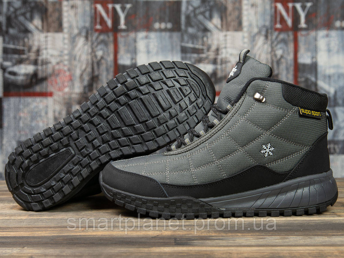 Зимние мужские кроссовки 30973, Supo Sport, темно-серые, < 45 > р. 45-29,5см.