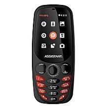 Кнопочный телефон с камерой и большим дисплеем Assistant AS-201 Black