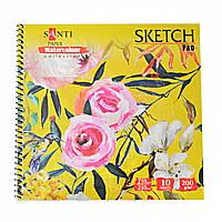 """Альбом для акварели SANTI """"Floristics"""", 210*210 мм, """"Paper Watercolour Collection"""", 200г/кв.м, 10 лист, 742623"""