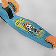 Трехколесный детский самокат со складной ручкой и светящимися колесами Best Scooter 45567 Голубой с оранжевым, фото 4