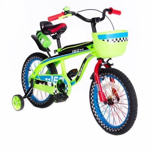 Детский двухколесный велосипед 16 дюймов SW-17006-16 салатовый светящиеся переднее колесо
