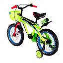 Детский двухколесный велосипед 16 дюймов SW-17006-16 салатовый светящиеся переднее колесо, фото 4