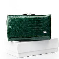 Зеленый лаковый женский кошелек из натуральной кожи ST WS-10 dark-green, фото 1