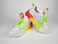 Белые летние женские кроссовки на массивной подошве омбре. Модный яркий дизайн. 36, 37, 38, 40 размер