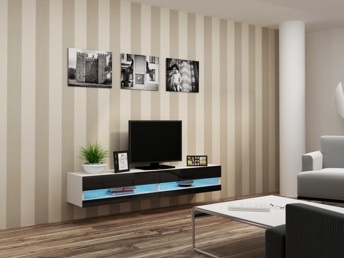 ТВ тумба RTV VIGO NEW 180 (белый/черный) (CAMA)
