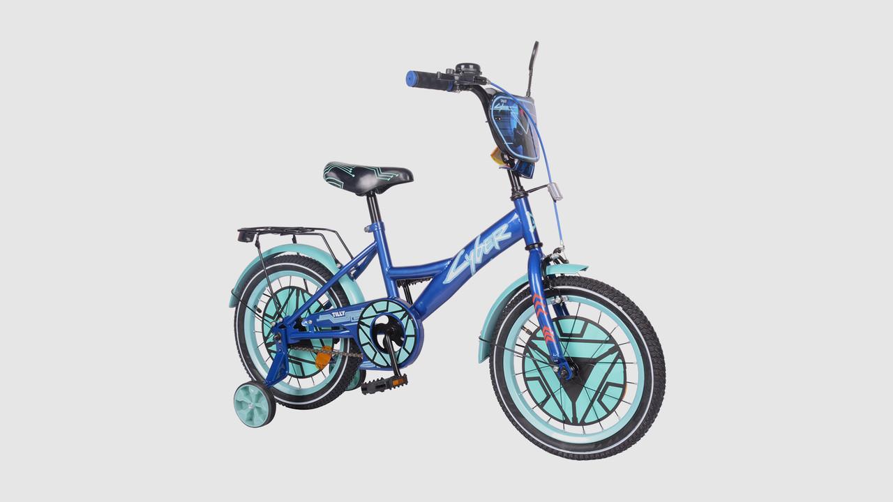 Велосипед TILLY Cyber T-216220-BLUE. Звонок. Дополнительные колеса