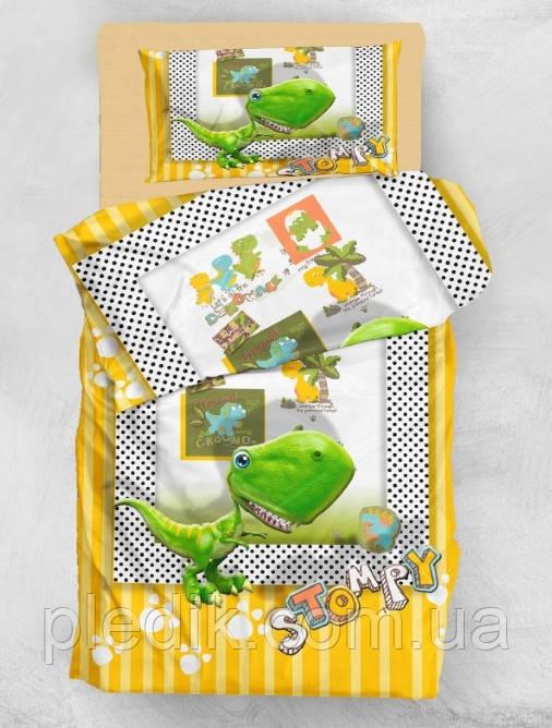 Детское постельное белье 160х220 Eponj Home микро сатин  STOMPY SARI-YESIL