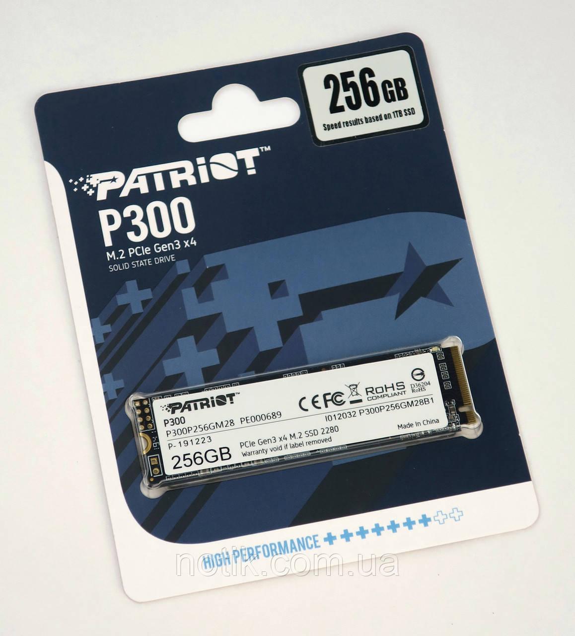 Твердотельный накопитель M.2 256Gb, Patriot P300, PCI-E 4x, 3D TLC, 1700/1100 MB/s (P300P256GM28)