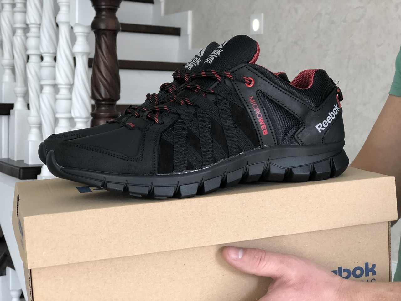 Мужские кожаные кроссовки Reebok,черные