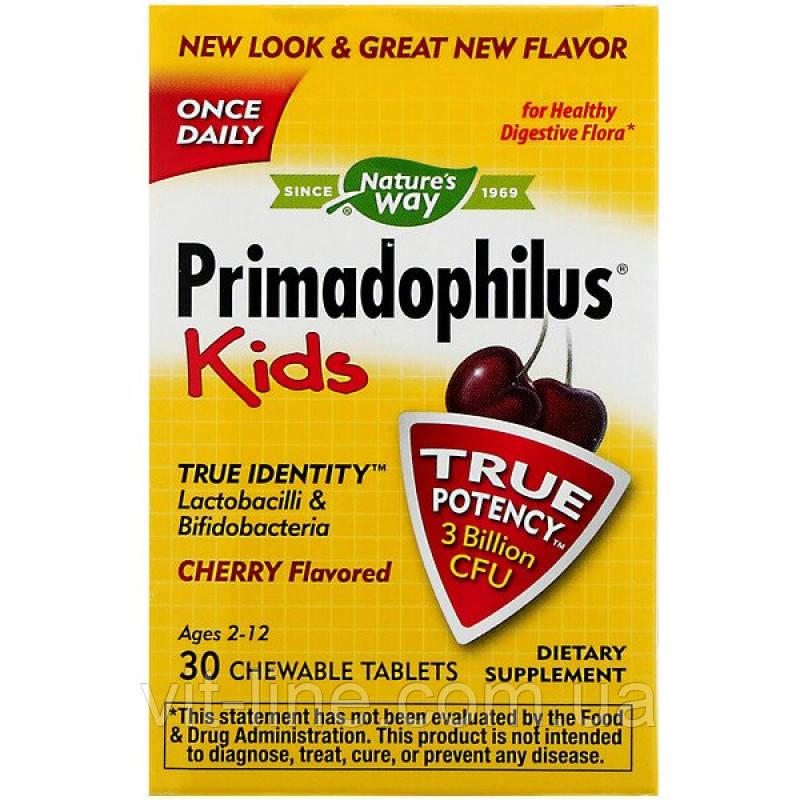 Nature's Way, Пробиотики для детей Примадофилус  в форме жевательных 30 таблеток