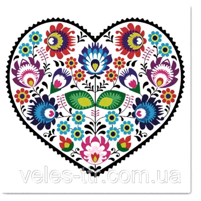 """Салфетки для декупажа """"Сердце из цветов"""" 33*33 см №341"""