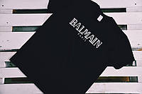 Черная мужская футболка хлопок с принтом бренда Balmain Бальмен