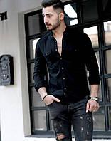 Мужская черная рубашка с длинным рукавом Rubaska Турция, фото 1