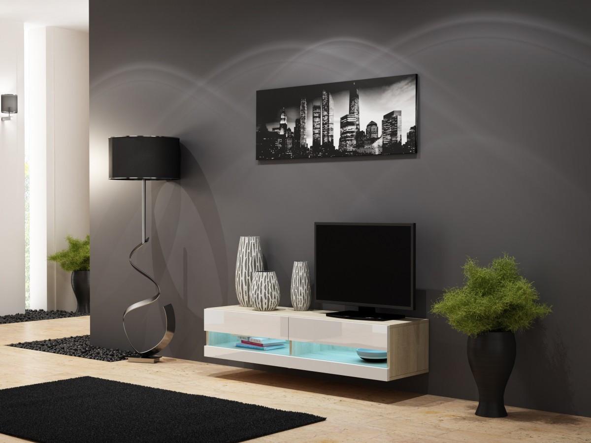 ТВ тумба RTV VIGO NEW MINI 140  (дуб сонома/белый) (CAMA)