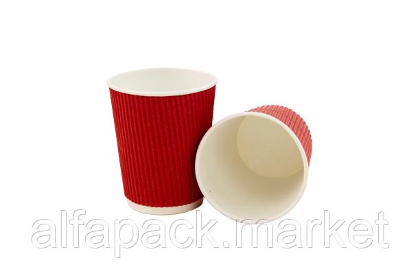 Гофрированный стакан 185 мл, красный (20 шт в рукаве)