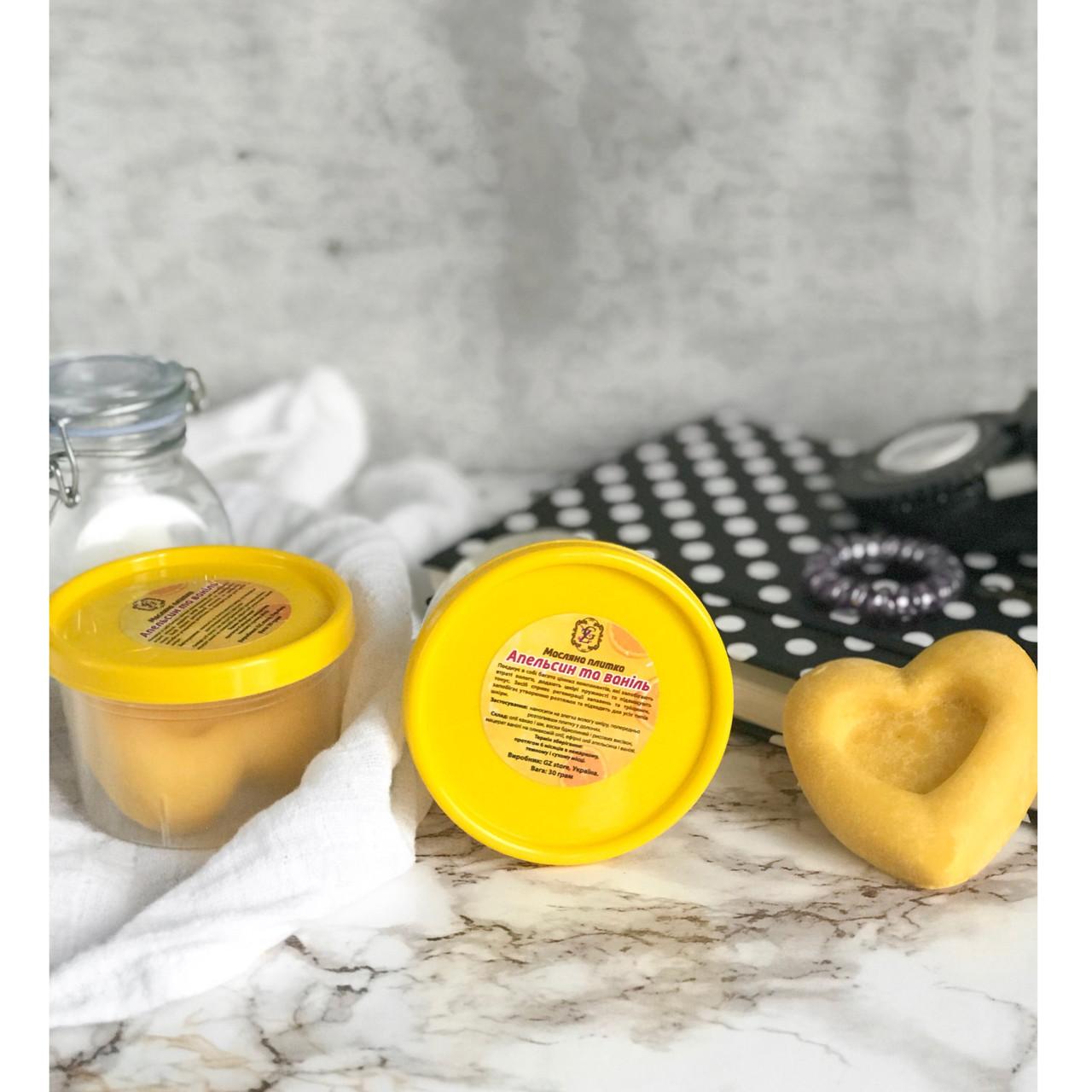 Масляная плиточка-баттер Апельсин с ванилью 30г - для тела, рук, ног, губ - от сухости, шелушений