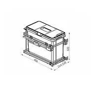 Сортер для мусора с доводчиком (модуль 300 мм)(1 ведро)(33л) - VIBO (Италия), фото 2