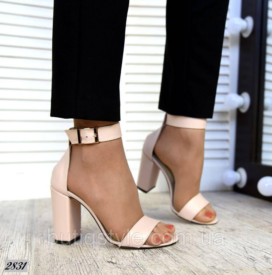 39 размер Женские босоножки пудра натуральная кожа на каблуке
