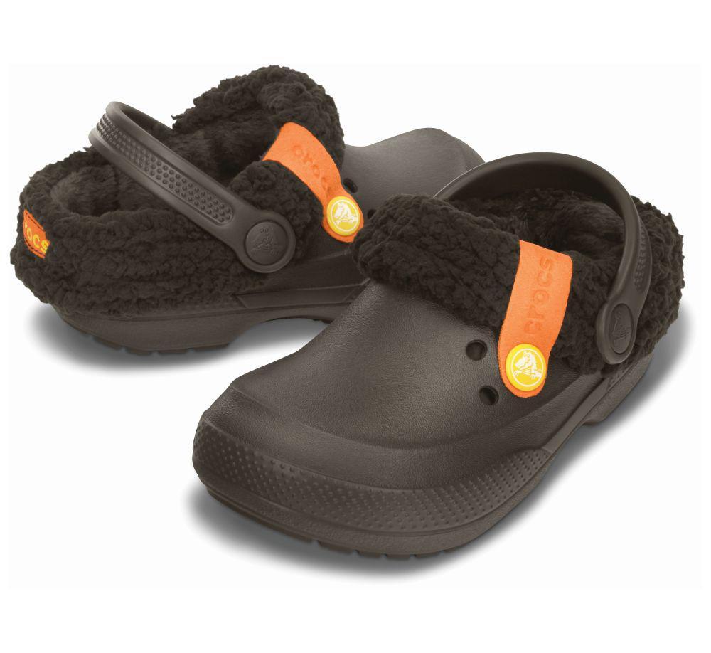 Детские Crocs с мехом (отстёгивается) коричневые EUR 24 26 27 29 Кроксы теплые 24-26, коричневый