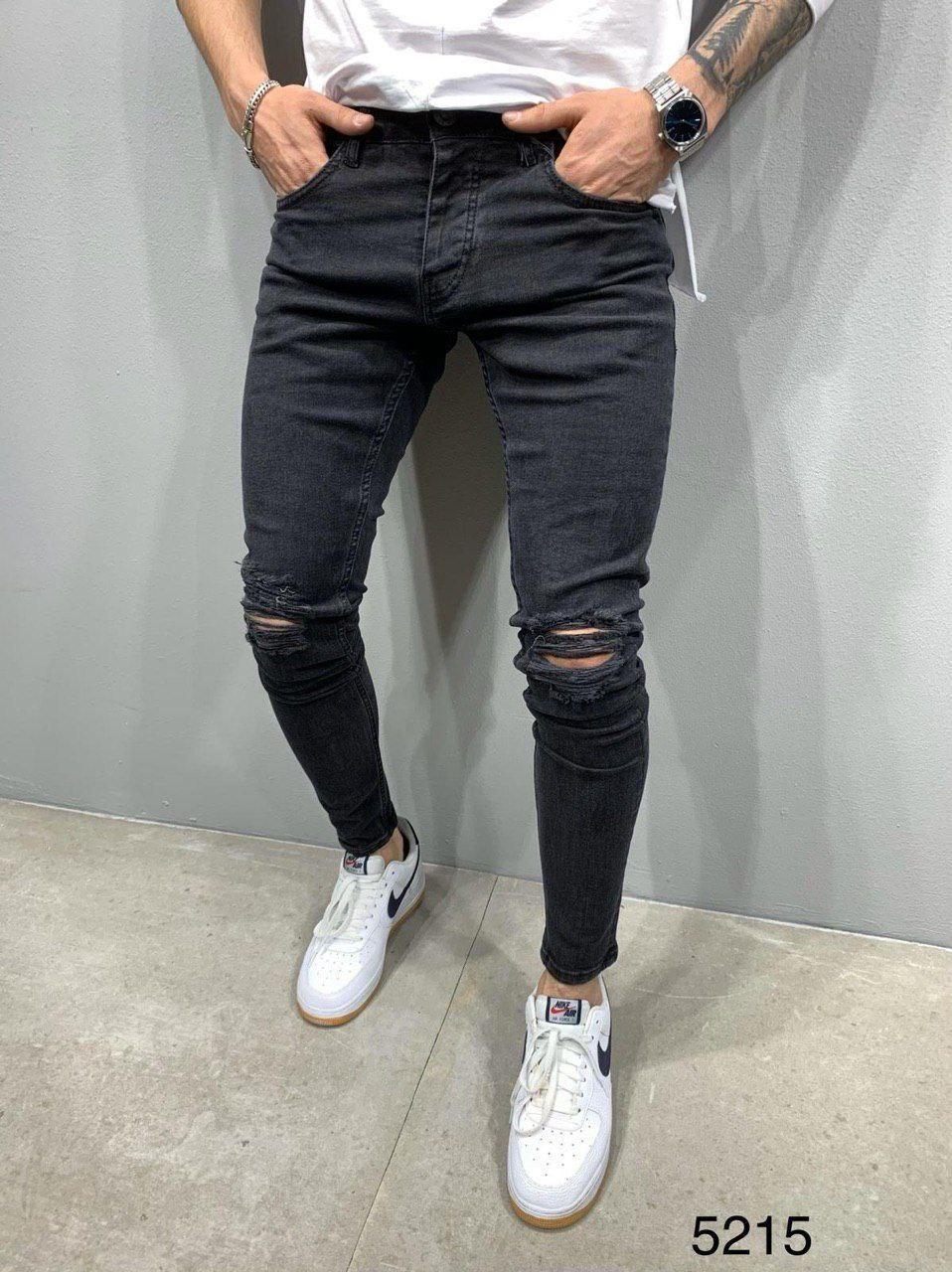 Мужские джинсы черные рваные 2Y Premium 5215