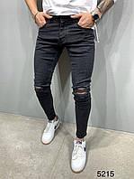 Мужские джинсы черные рваные 2Y Premium 5215, фото 1