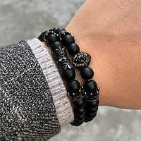 Набор браслетов из чёрного камня «Лев»