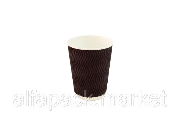 Гофрированный стакан 250 мл, коричневый (20 шт в рукаве)