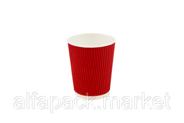Гофрированный стакан 250 мл, красный (20 шт в рукаве)