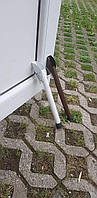 Упор дверной откидной,ножка откидная пружинная для двери L-215 мм. БЕЛЫЙ