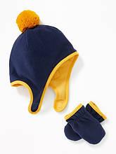 Варежки и шапка детские синие с желтым 1 2 3 4 года 5 лет флисовые комплект Old Navy 45-48