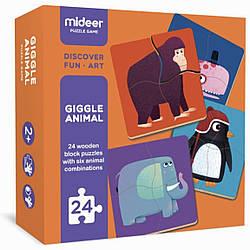 """Набор деревянных пазлов для малышей """"В мире животных"""" MiDeer Toys"""