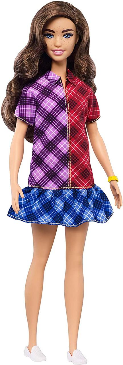 Кукла Барби Модница 137 шатенка клетчатое платье Barbie Fashionistas 137