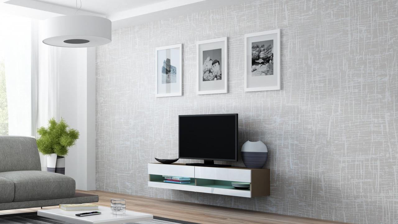 ТВ тумба RTV VIGO NEW MINI 140 (лате/білий) (CAMA)