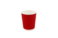 Гофрированный стакан 330 мл, красный (20 шт в рукаве)