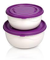 Набор круглых контейнеров для продуктов 2 шт 0,85 л + 1,4 л