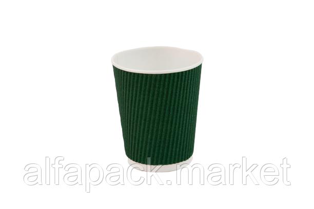 Гофрированный стакан 250 мл, зеленый (20 шт в рукаве) 061430002