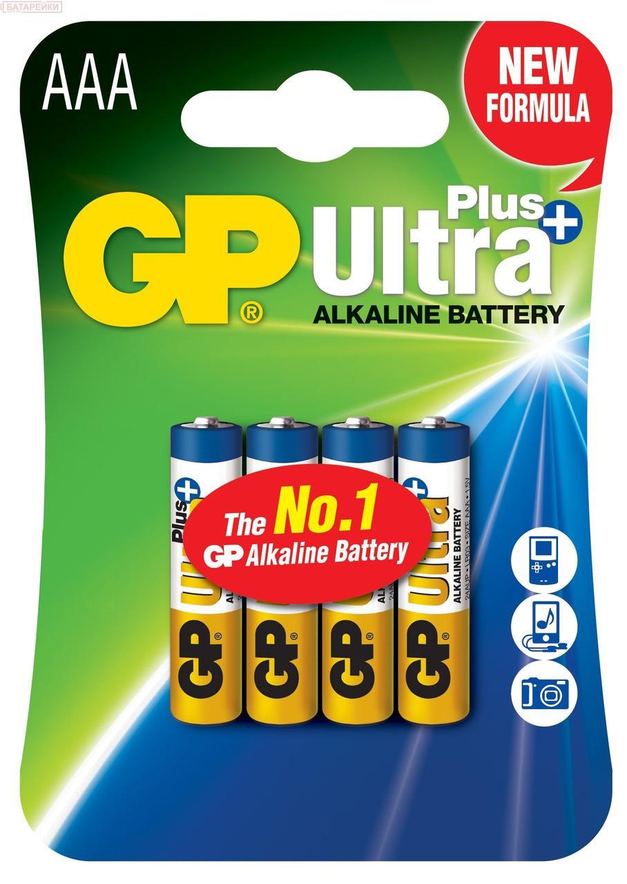 Батарейка GP ULTRA+ALKALINE, 4шт/упак., 24AUPHM-2UE4, LR03, AUP, AAA, лужна, 100338