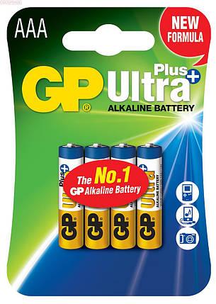 Батарейка GP ULTRA+ALKALINE, 4шт/упак., 24AUPHM-2UE4, LR03, AUP, AAA, лужна, 100338, фото 2